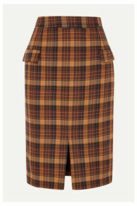 REMAIN Birger Christensen - Maine Checked Cotton-blend Pencil Skirt - Orange
