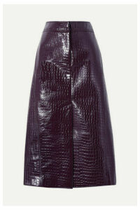 Tibi - Croc-effect Faux Patent-leather Midi Skirt - Grape