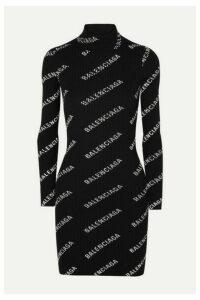 Balenciaga - Printed Ribbed-knit Mini Dress - Black