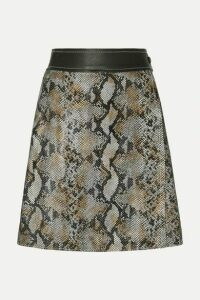 Stand Studio - Elene Snake-effect Leather Wrap Skirt - Gray