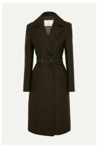 REMAIN Birger Christensen - Nima Belted Wool-blend Coat - Dark brown