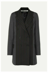 McQ Alexander McQueen - Double-breasted Paneled Pinstriped Grain De Poudre And Wool Blazer - Black