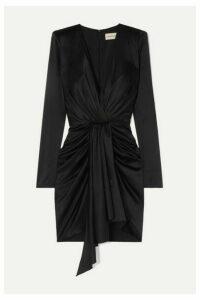 Alexandre Vauthier - Draped Stretch-silk Satin Mini Dress - Black