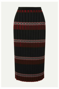 Marni - Pleated Striped Knitted Midi Skirt - Black