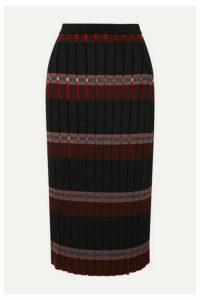 Marni - Pleated Striped Knitted Midi Skirt - Black