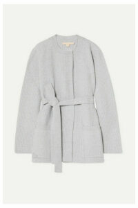 Brock Collection - Belted Ribbed Wool And Cashmere-blend Cardigan - Light gray