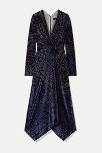 House of Holland - Knotted Stretch Devoré-velvet Midi Dress - Midnight blue