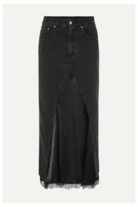 MM6 Maison Margiela - Layered Lace-trimmed Satin And Denim Midi Skirt - Black