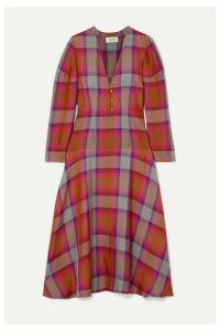 ARIAS - Checked Twill Midi Dress - Red
