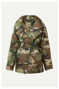 Norma Kamali - Sleeping Bag Oversized Camouflage-print Shell Coat - Dark green