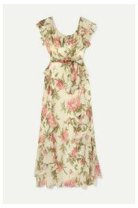 alice McCALL - Salvatore Ruffled Metallic Floral-print Chiffon Maxi Dress - Blush