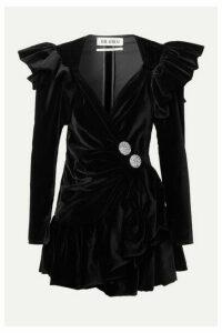 Attico - Ruffled Embellished Wrap-effect Cotton-velvet Mini Dress - Black