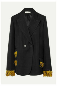 Wales Bonner - Feather-trimmed Double-breasted Woven Blazer - Black