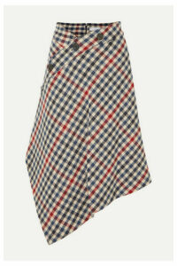 JW Anderson - Asymmetric Checked Wool-blend Midi Skirt - Navy