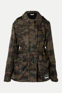 Miu Miu - Hooded Padded Camouflage-print Canvas Jacket - Army green
