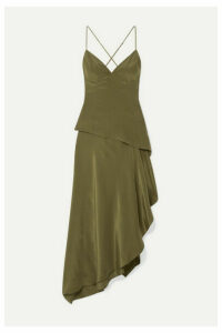 AMIRI - Asymmetric Silk Crepe De Chine Dress - Army green