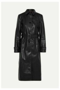 Commission - Belted Faux Leather Trench Coat - Black