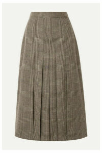 Giuliva Heritage Collection - The Verena Pleated Prince Of Wales Checked Merino Wool Skirt - Dark brown
