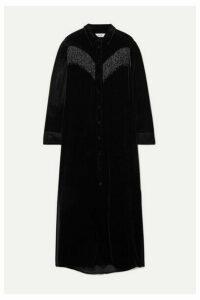 Blazé Milano - Etoile Colorado Fringed Velvet-jacquard Midi Dress - Black