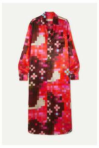 Marni - Printed Satin Midi Dress - Red