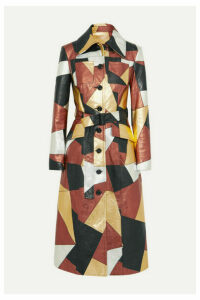 Michael Kors Collection - Belted Patchwork Metallic Leather Coat - Gold