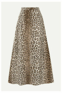 Emilia Wickstead - Ionie Leopard-print Cotton-blend Faux Fur Midi Skirt - Leopard print