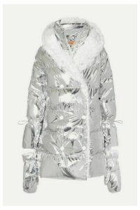 Yves Salomon - Hooded Shearling-trimmed Quilted Metallic Shell Down Coat - Silver