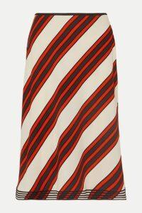 Tory Burch - Velvet-trimmed Striped Cady Midi Skirt - Orange