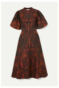 Adam Lippes - Printed Stretch-cotton Midi Dress - Brick