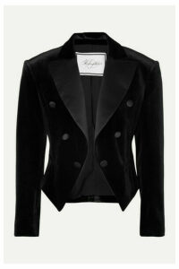 Redemption - Spencer Cropped Satin-trimmed Velvet Blazer - Black