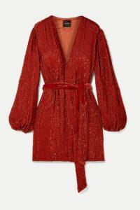 Retrofête - Gabrielle Velvet-trimmed Sequined Chiffon Mini Wrap Dress - Orange