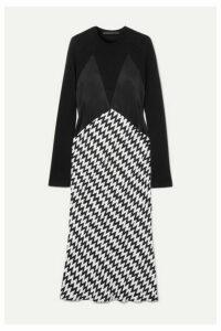 Haider Ackermann - Paneled Wool-jersey, Satin And Jacquard Midi Dress - Black
