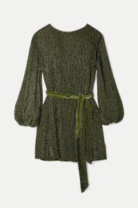 Retrofête - Grace Velvet-trimmed Sequined Chiffon Mini Dress - Army green
