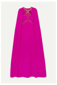 Marchesa Notte - Beaded Applique Cape-effect Crepe Gown - Fuchsia