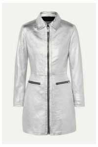 The Mighty Company - The Ludlow Metallic Leather Mini Dress - Silver