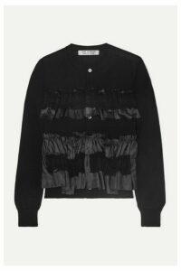 Comme des Garçons Comme des Garçons - Georgette And Taffeta-trimmed Ruffled Wool Cardigan - Black
