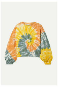 AGOLDE - Tie-dyed Cropped Cotton-jersey Sweatshirt - Yellow