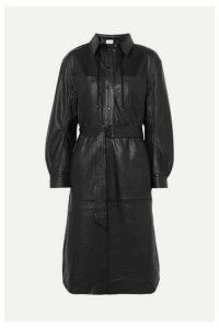 MUNTHE - Hazel Belted Leather Shirt Dress - Black