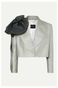 Magda Butrym - Cropped Crystal-embellished Metallic Wool-blend Blazer - Silver