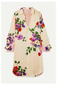 Junya Watanabe - Layered Floral-print Silk-jacquard And Wool-jersey Dress - White