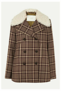 Adam Lippes - Shearling-trimmed Checked Woven Coat - Brown