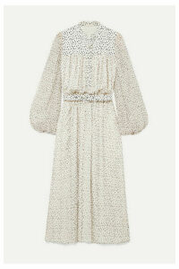 Adam Lippes - Gathered Printed Silk-chiffon Midi Dress - Ivory