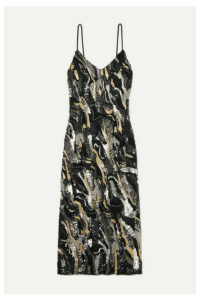 Burnett New York - Embellished Silk Midi Dress - Black