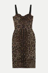 Dolce & Gabbana - Satin-trimmed Leopard-print Cotton And Silk-blend Tulle Dress - Brown