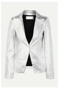 The Mighty Company - The Coventry Metallic Leather Blazer - Silver