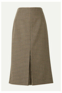 Victoria Beckham - Checked Wool Midi Skirt - Brown