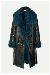 Michael Kors Collection - Shearling-lined Glossed Cracked-leather Coat - Blue