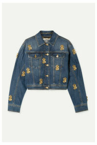 Moschino - Cropped Embellished Denim Jacket - Mid denim