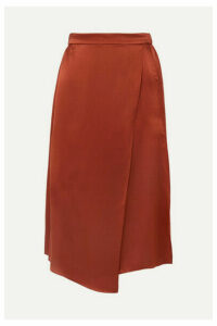 Vince - Wrap-effect Draped Silk-satin Skirt - Brick