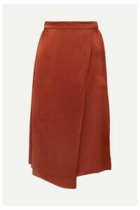 Vince - Wrap-effect Draped Silk-satin Skirt - Brick